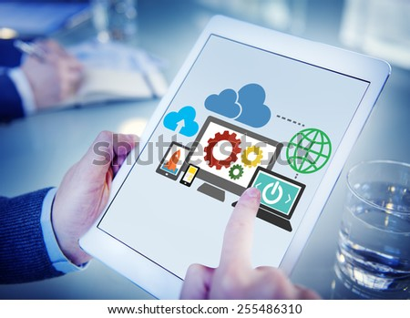 Cloud Data Storage Database Online Technology Concept - stock photo