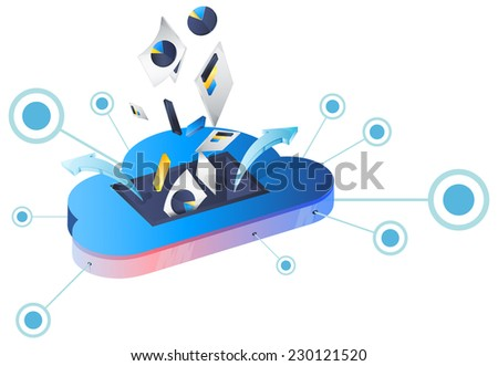 Cloud Data Storage Services - Illustration - stock photo