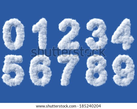 Cloud digits on white background, high quality 3d render - stock photo