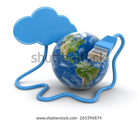 Cloud, Globe and computer cable (clipping path included) Elements of this image furnished by NASA - stock photo