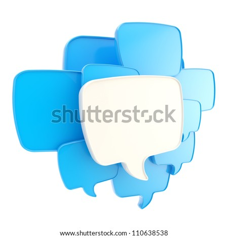 Cloud group of speech text bubbles blue composition as copyspace banner plate isolated on white - stock photo