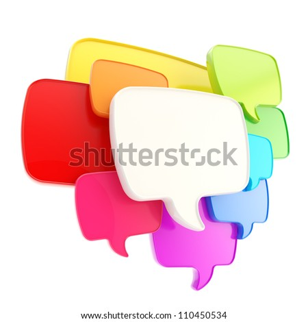 Cloud group of speech text bubbles rainbow colored composition as copyspace banner plate isolated on white - stock photo