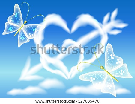 Cloud hearts in the sky and arrow. Raster version of vector. - stock photo