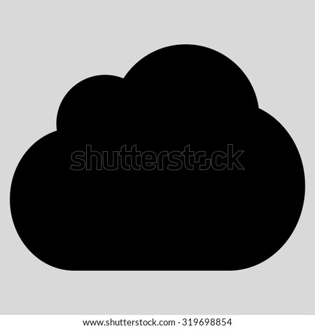 Cloud icon from Primitive Set. This isolated flat symbol is drawn with black color on a light gray background, angles are rounded.