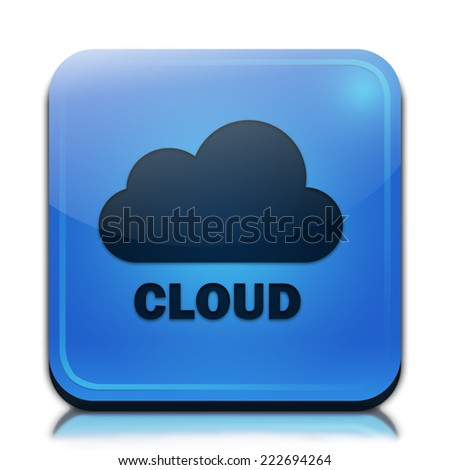 Cloud icon. Glossy blue button.