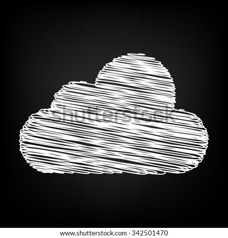 cloud icon, illustration. Flat design style with chalk effect