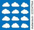 Cloud Icon Set. Raster version - stock photo