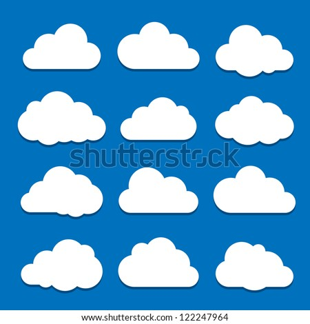 Cloud Icon Set. Raster version - stock photo