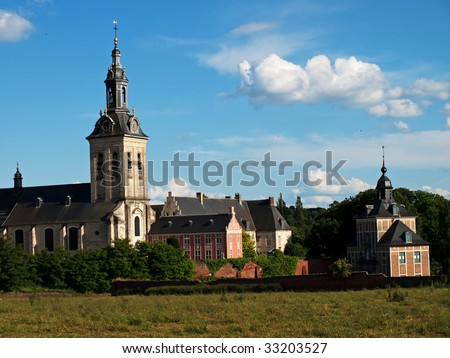 Cloud in a form of a ghost and ancient abbey, Belgium