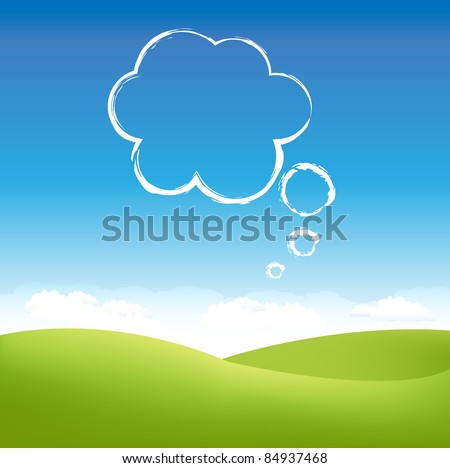 Cloud In Air Over Grass Field