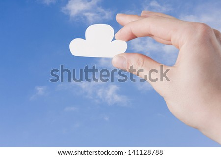 Cloud in Hand, Cloud Service Concept with Copy Space - stock photo