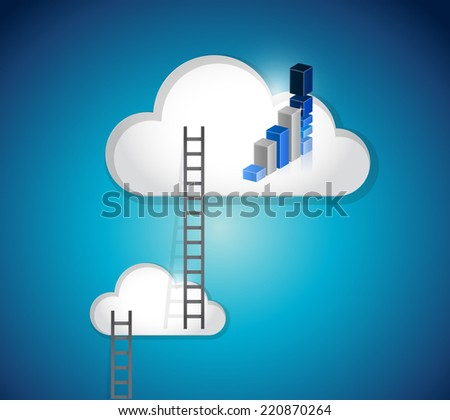cloud ladders and blue graph illustration design over a white background - stock photo