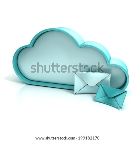 Cloud letter 3d computer icon isolated - stock photo