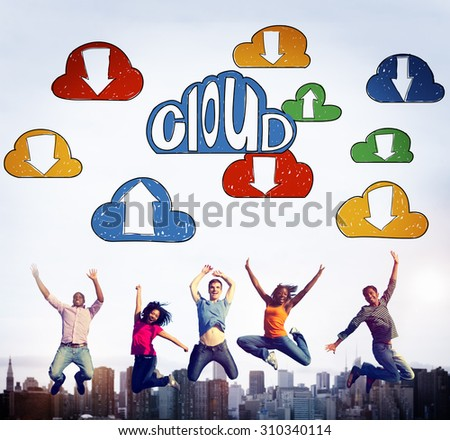 Cloud Link Computing Technology Data Concept - stock photo