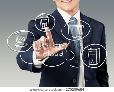 Cloud. Man drawing cloud computing diagram - stock photo