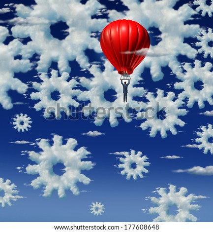 Cloud management and internet support concept with a group of clouds shaped as gears and cog wheels in the sky with a businessman riding a red hot air balloon to examine the networking system. - stock photo