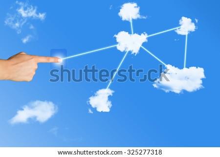 cloud network - stock photo