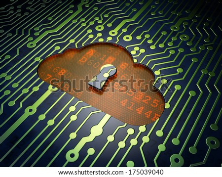 Cloud networking concept: circuit board with Cloud With Keyhole icon, 3d render - stock photo