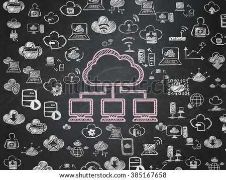 Cloud networking concept: Cloud Network on School Board background - stock photo
