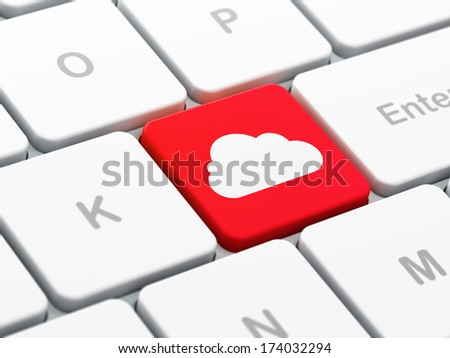 Cloud networking concept: computer keyboard with Cloud icon on enter button background, selected focus, 3d render - stock photo