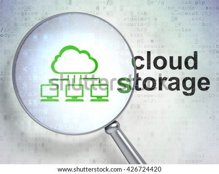 Cloud networking concept: magnifying optical glass with Cloud Network icon and Cloud Storage word on digital background, 3D rendering - stock photo