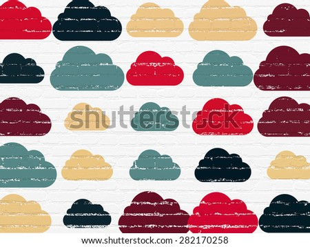 Cloud networking concept: Painted multicolor Cloud icons on White Brick wall background, 3d render - stock photo