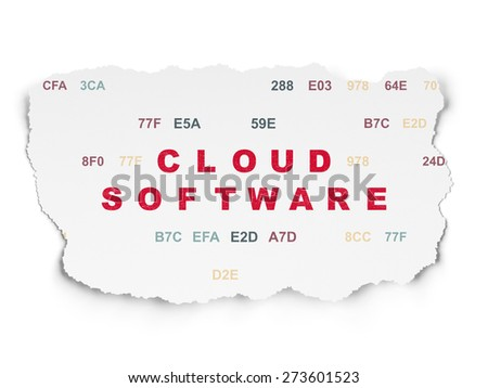 Cloud networking concept: Painted red text Cloud Software on Torn Paper background with  Hexadecimal Code, 3d render