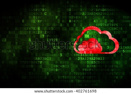Cloud networking concept: pixelated Cloud icon on digital background, empty copyspace for card, text, advertising - stock photo