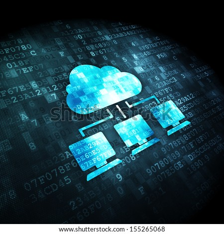 Cloud networking concept: pixelated Cloud Network icon on digital background, 3d render - stock photo
