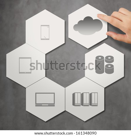 cloud networking on hexagon icon tile as concept - stock photo
