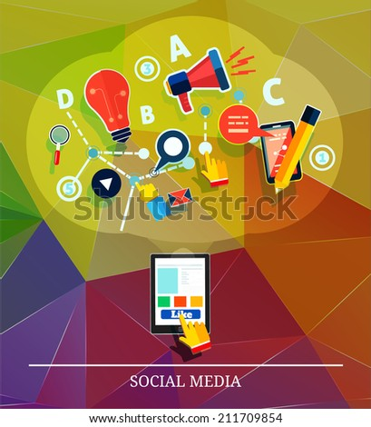 Cloud of application icons. Social media on triangular background. Raster version - stock photo