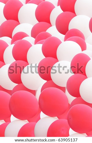 cloud of beautiful pink and white balloons - stock photo