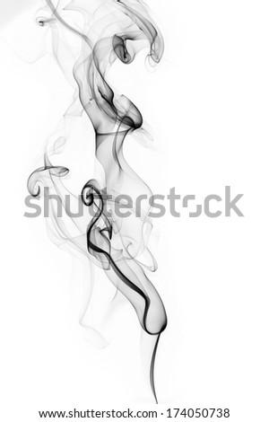 Cloud of black smoke isolated on white background - stock photo