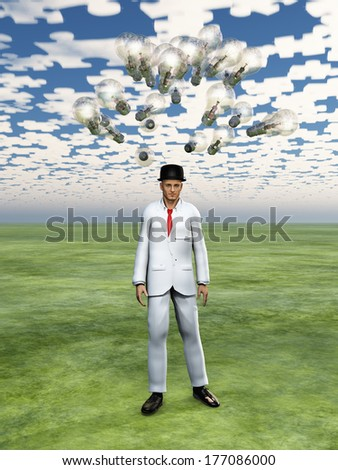 Cloud of bulbs hover over mans head with puzzle piece sky - stock photo