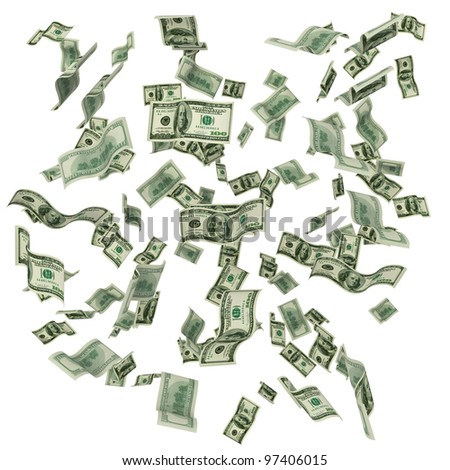 Cloud of hundred dollar notes flying on white background - stock photo