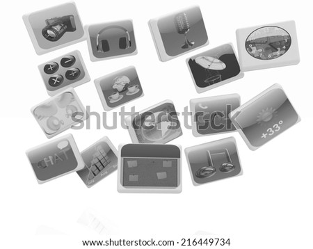 Cloud of media application Icons on a white background