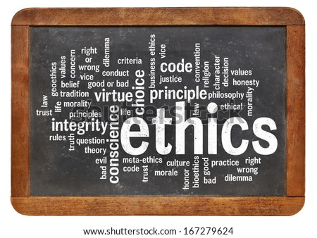 cloud of words or tags related to ethics and moral dilemma on a  vintage slate blackboard - stock photo