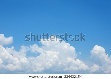 cloud on clear blue sky, fluffy clouds nature background - stock photo