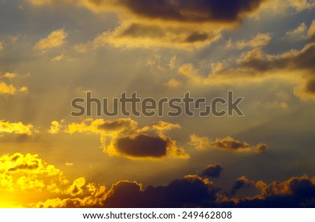 cloud on the sky before sunset - stock photo