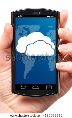 cloud on touch screen phone, cut out from white.