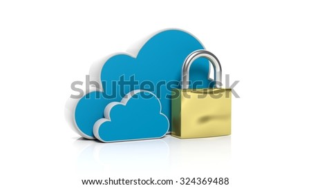 Cloud online storage icons with golden lock, isolated on white
