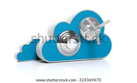 Cloud online storage icons with round dial lock, isolated on white  - stock photo