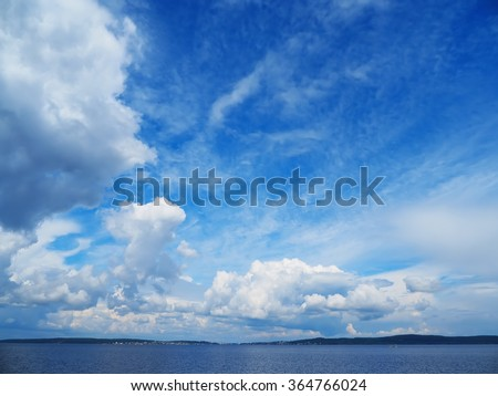 cloud over the lake - stock photo