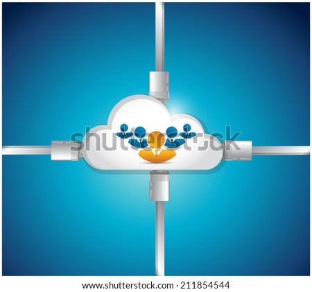 cloud people connection illustration design over a blue background - stock photo