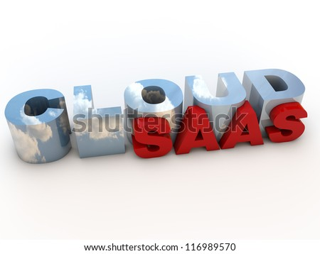 Cloud SAAS over white Background - stock photo