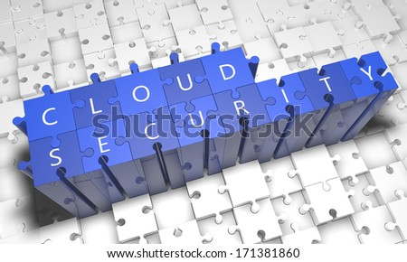 Cloud Security - puzzle 3d render illustration with text on blue jigsaw pieces stick out of white pieces - stock photo