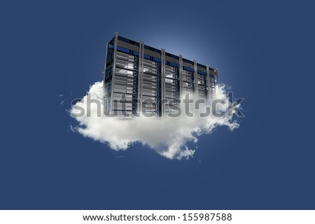 Cloud Server on the Sky. Cloud Data Center Floating on the Small Cloud. Clear Blue Sky. Cloud Technology Theme. - stock photo
