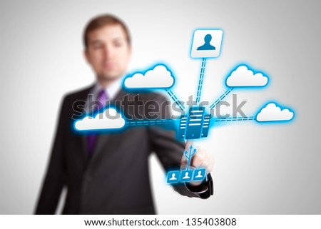 cloud service applications, networking - stock photo