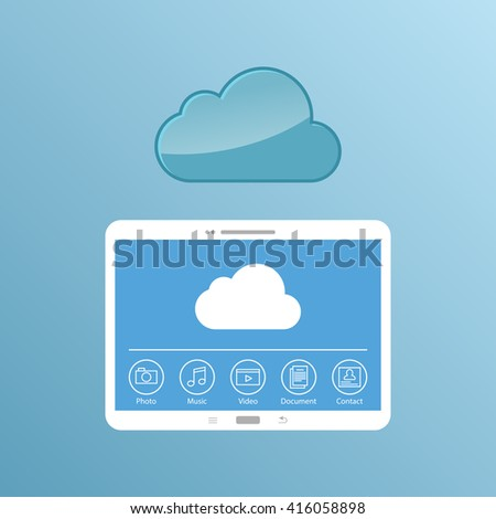 Cloud service. Concept design of the tablet storage files. - stock photo