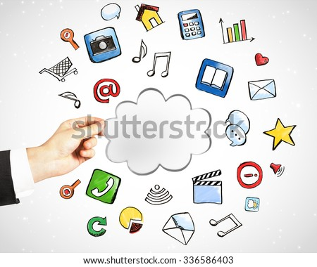 Cloud service technology with social media icons concept